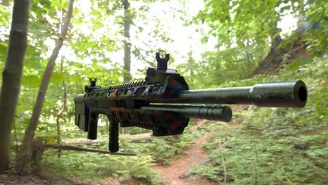 3D Low poly model of prototype firearms