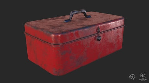 Antique Toolbox Lowpoly PBR GameReady - 3 Texture Variants
