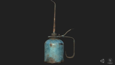 Vintage Oilcan Rusty Blue PBR Game Ready Low-poly