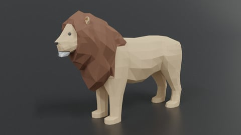 Low Poly Cartoon Male Lion