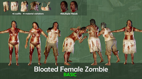 (UE4) Bloated Female Zombie - Basic