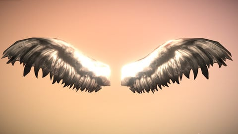 Ultra Low Poly Animated Angel Wings