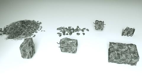 Demolished Concrete and stones - 7 3D models Free 3D model