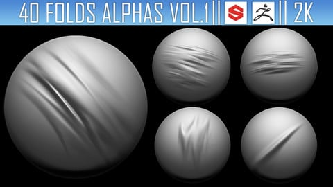 40 Folds Alphas Vol.1 (ZBRush, Substance, 2K)