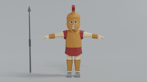 Low Poly Ancient Greek Warrior