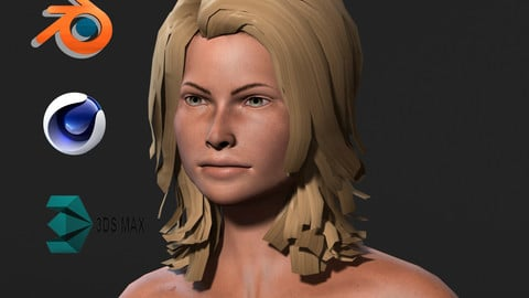 Naked woman-Rigged 3d game character Low-poly 3D model