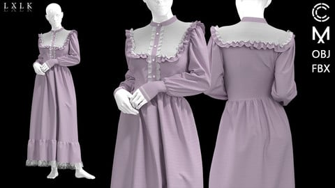 Purple Vintage Dress - Marvelous designer, Clo3d
