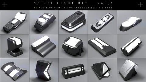 Sci-fi Light kit [Game ready topology ] [Zbrush IMM brushes]