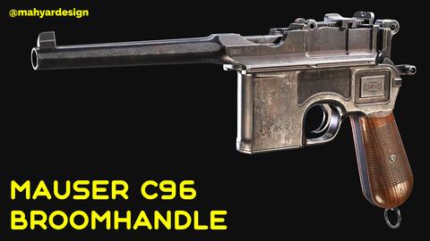 Mauser C96 Broomhandle Pistol Game Ready Asset