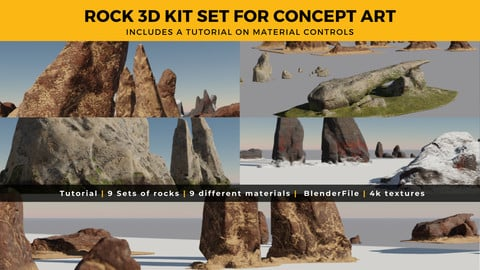 Rock 3D Kit Set - 9 Different Materials