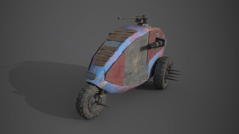 Post apocalyptic electric monster tricycle Low-poly 3D model