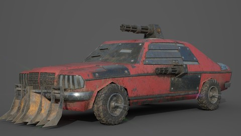 Post Apocalyptic Monster Mercedes 230 Low-poly 3D model