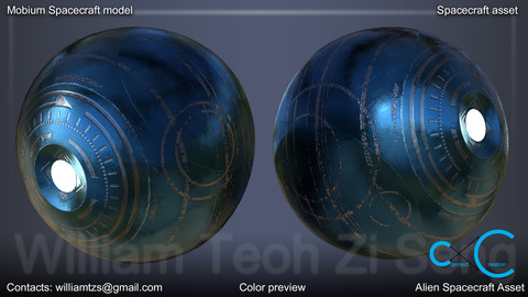 Mobium Alien Spacecraft 3D Model - Production ready