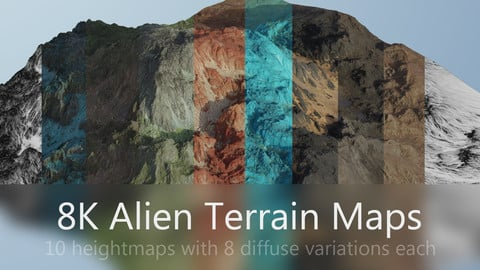 10 REALISTIC FOREIGN PLANET TERRAIN  MAPS in 8K
