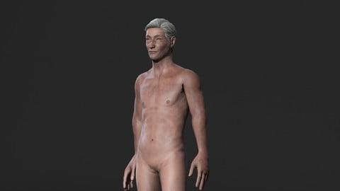Animated Naked Old Man-Rigged 3d game character Low-poly
