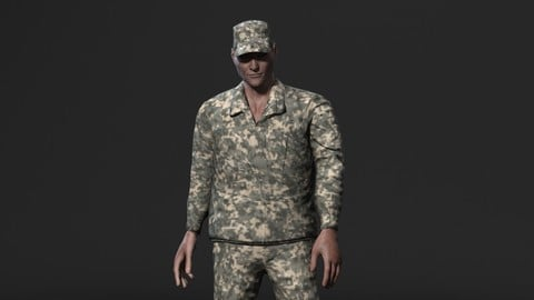 Animated Soldier Man-Rigged 3d game character Low-poly