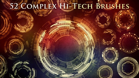 52 Complex Futuristic Circle Brushes