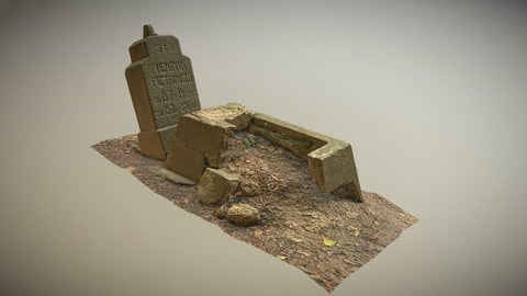 Scanned photorealistic broken grave Low-poly 3D model