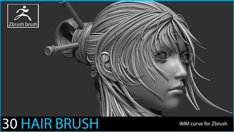30 Imm Hair Brush for Zbrush