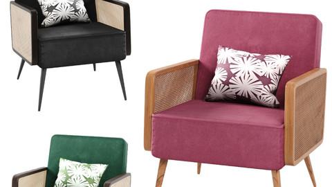 Arm Chair- Rattan cane velvet 3 color