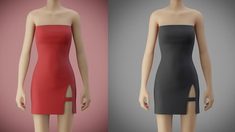tube bodycon dress with slit 3D model