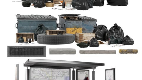 Street kitbash (VOL1-VOL2)3dmodels acctes+3dsmax(corona+ vray) + fbx+texture map
