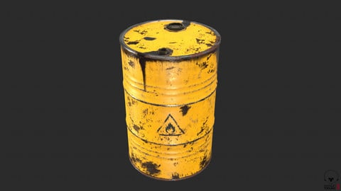 Old Rusty Oil Drum with oil leakage PBR Low-poly
