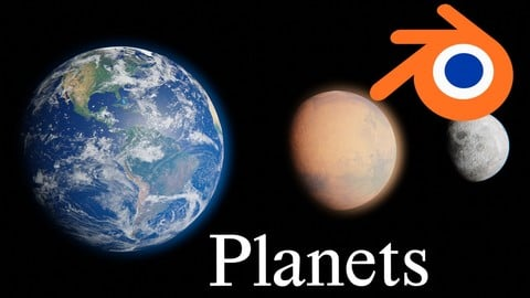Earth, Mars, Moon (Blender Planet Model Pack)