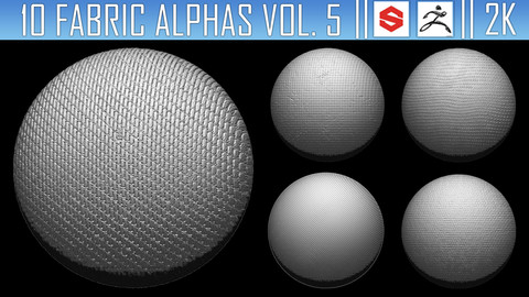 10 Fabric Alphas Vol.5 (ZBrush, Substance, 2K)