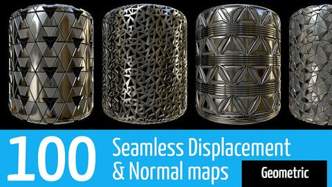 100 Seamless Alpha/Displacement & Normal patterns - Geometric