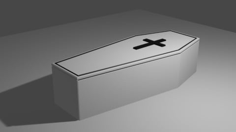 White Coffin Low Poly - Caixao branco Low-poly 3D model