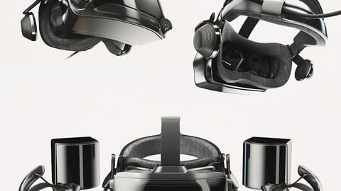 Valve Index VR headset with controllers and sensors - full kit 3D model