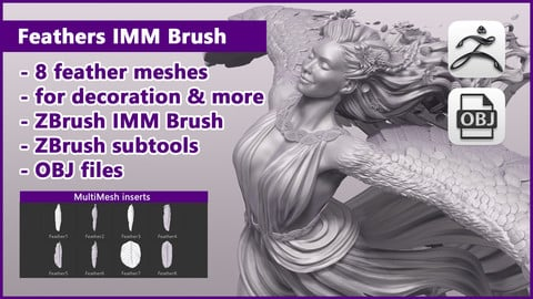 ZBrush Feathers IMM Brush / ZBrush files + OBJ files
