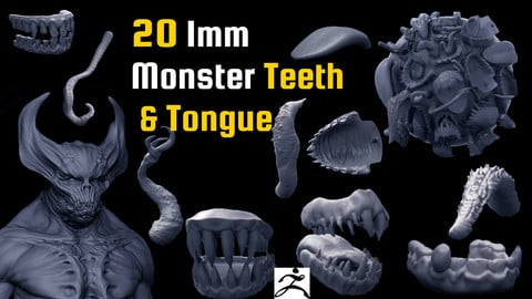 30 Imm Monster Teeth, Tongue and Tentacles for Zbrush and in OBJ format