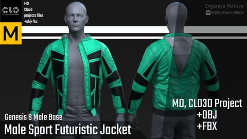 Male Sport Futuristic Jacket. Marvelous Designer,Clo3d project + OBJ + FBX