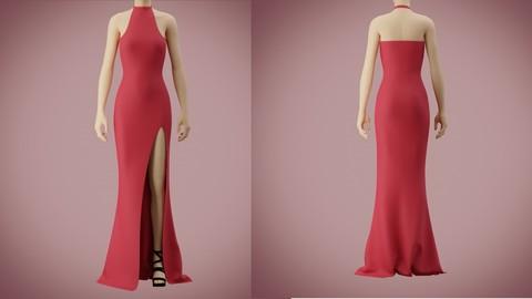 Halter neck gown with high slit 3D model