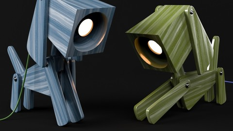 Two Puppy shaped Wooden Table Lamp