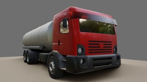Red Truck - Tank - Fuel - Gasoline - Caminhao Tanque 3D model