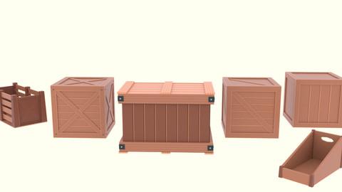Low Poly Cartoon Crates