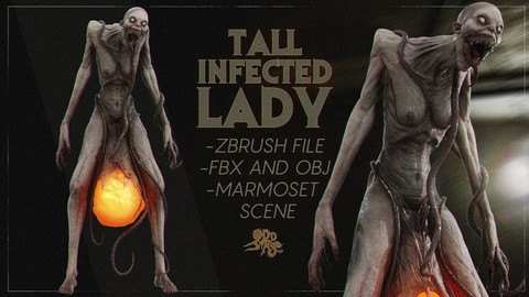 Infected Lady - Zbrush Project + Extra Files