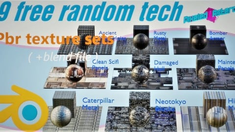 9 FREE RANDOM TECHNOLOGY PBR MATERIALS. (with blend file ready included)