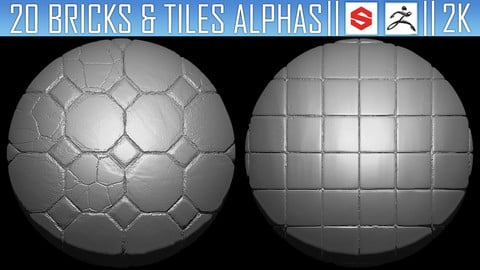 20 Bricks and Tiles Alphas Vol.1 (ZBRush, Substance, 2K)