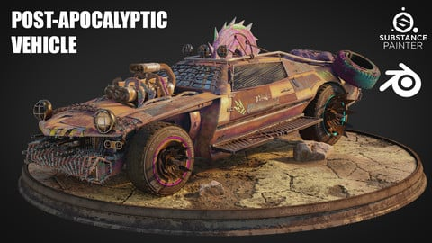 Post Apocalyptic Vehicle Ready to Texture