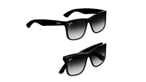 rayban sunglass justin classic 3d model