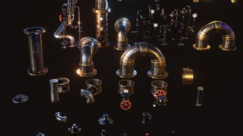 Steampunk Pipes 3D Kit (fbx - obj - blend)