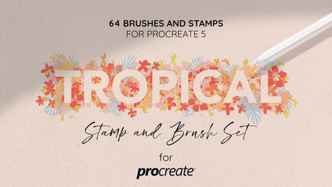 Tropical Summer Stamp and Brush set for Procreate