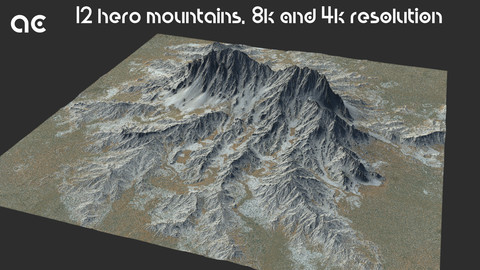 Hero Mountains Collection | 12 Terrains at 8k resolution, Height map+Texture+Mesh