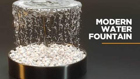 Modern water fountain with simulated stream 3D model