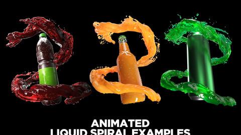 Animated water-liquid splash simulation 3D model