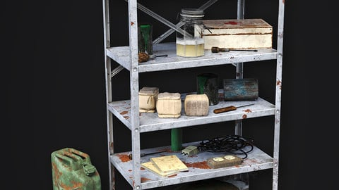 Metal Shelf Collection with garbage - Modular Game ready props Low-poly 3D model